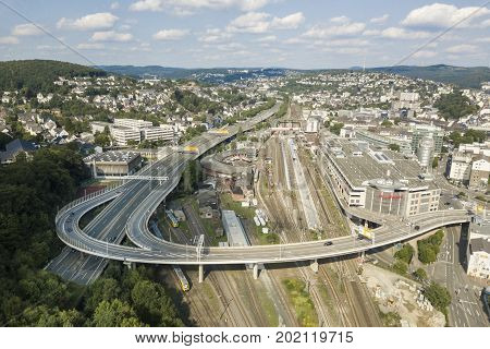 Siegen Germany - Aug 27 2017: Aerial view over the city of Siegen. North Rhine-Westphalia Siegerland Germany