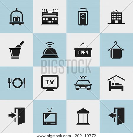 Set Of 16 Editable Travel Icons. Includes Symbols Such As Trolley, Service Bell, Bedroom And More