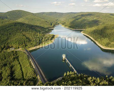 The Obernau lake - a large drinking water reservoir for the Siegerland region. Netphen North Rhine-Westphalia Germany