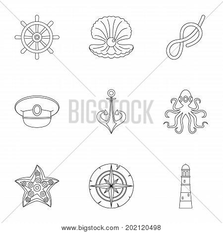 Marine icons set. Outline style set of 9 marine vector icons for web design