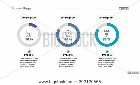 Three phase process chart slide template. Element of strategy, plan, diagram. Concept for business presentation, layouts, annual report. Can be used for topics like strategy, business, management