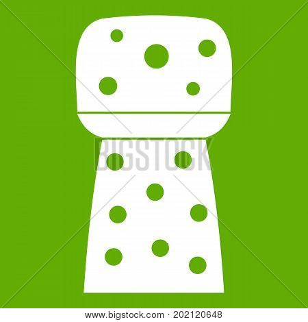 Wooden cork icon white isolated on green background. Vector illustration