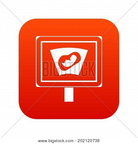 Ultrasound of baby in mother womb icon digital red for any design isolated on white vector illustration
