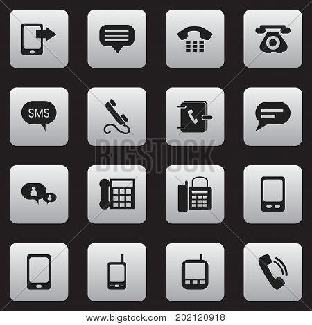Set Of 16 Editable Gadget Icons. Includes Symbols Such As Transceiver, Address Notebook, Call And More