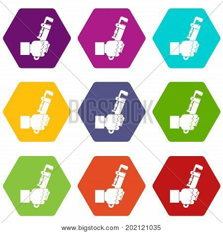 Hacksaw in man hand icon set many color hexahedron isolated on white vector illustration