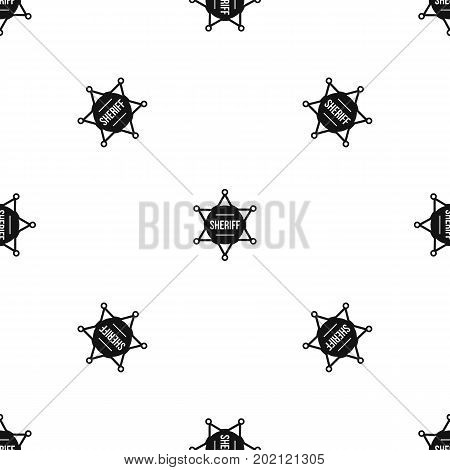 Sheriff badge pattern repeat seamless in black color for any design. Vector geometric illustration