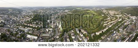 Panoramic view over the city of Siegen. North Rhine-Westphalia Germany