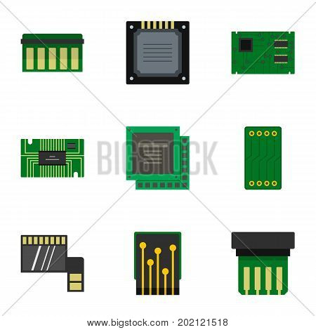 Microchip icons set. Flat style set of 9 microchip vector icons for web design