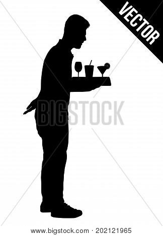 Waiter silhouette with the tray on white background vector illustration