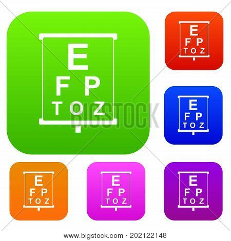 White placard with letters eyesight testing set icon in different colors isolated vector illustration. Premium collection