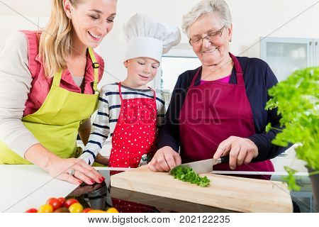 Granny showing old family recipe to grandson and daughter cooking together