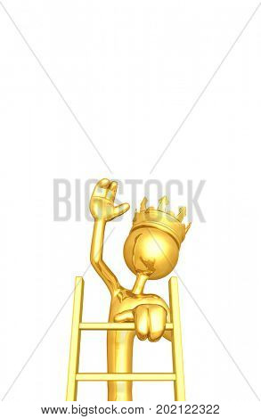 The Original 3D Character King Illustration Climbing A Ladder