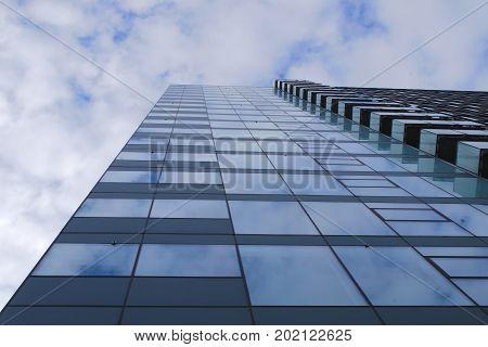 skyscraper office building blue glass windows surface style corporate success futur tower