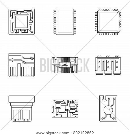 Processor icons set. Outline style set of 9 processor vector icons for web design