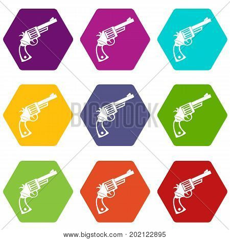 Vintage revolver icon set many color hexahedron isolated on white vector illustration