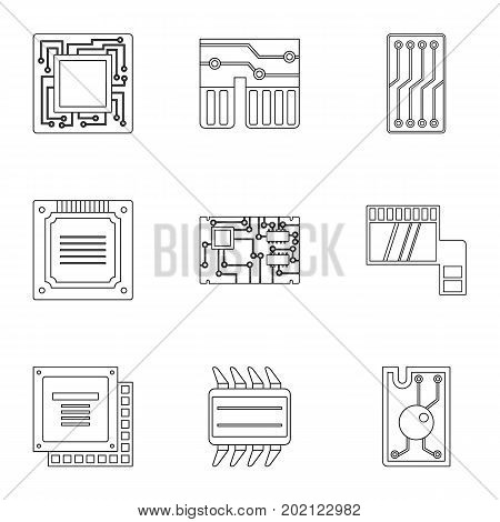 Transistor icons set. Outline style set of 9 transistor vector icons for web design