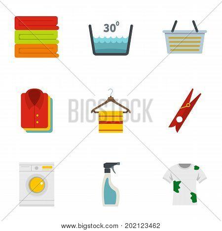Domestic washing icons set. Flat style set of 9 domestic washing vector icons for web design