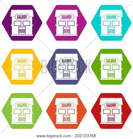 Western saloon icon set many color hexahedron isolated on white vector illustration
