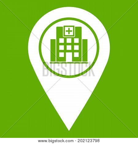Geo tag with hospital building sign icon white isolated on green background. Vector illustration