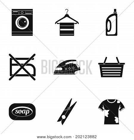 Domestic washing icons set. Simple style set of 9 domestic washing vector icons for web design