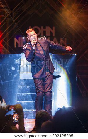 Minsk Belarus-August 12 2017: World Famous British Pop-Singer John Newman Performing at A-Fest Music Festival on August 12 2017 in Minsk Republic of Belarus.
