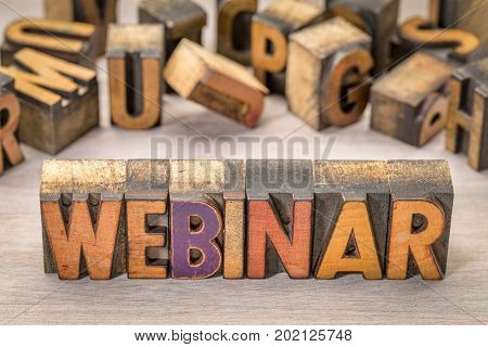 webinar banner  -  internet communication concept - a word abstract  in letterpress wood type printing blocks