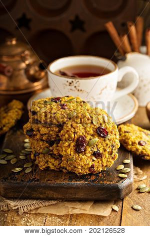 Breakfast oatmeal cookies with pumpkin puree, cranberry and seeds