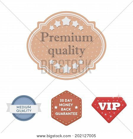 Money back guarantee, vip, medium quality, premium quality.Label, set collection icons in cartoon style vector symbol stock illustration .
