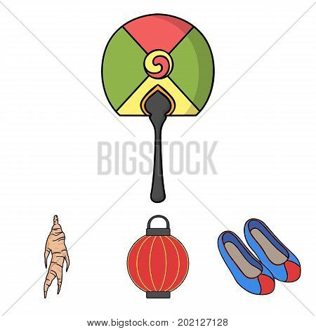Healing root, Korean flashlight, national shoes, multi-colored fan. South Korea set collection icons in cartoon style vector symbol stock illustration .