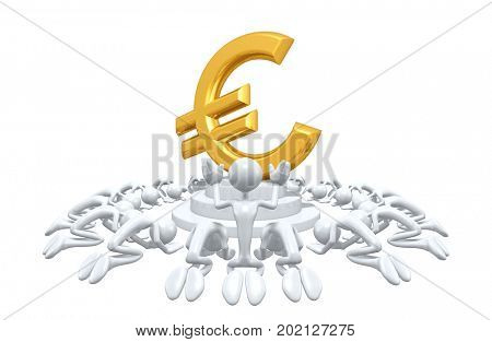 A Group Of The Original 3D Characters Illustration Worshiping A Euro Symbol