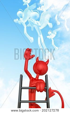 The Original 3D Character Devil Illustration Climbing A Ladder