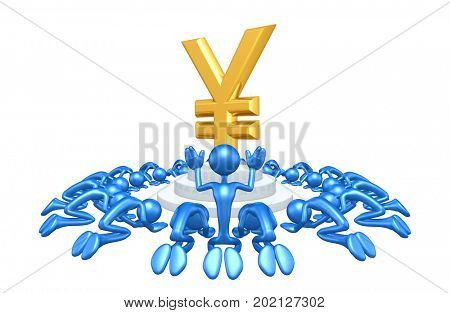 A Group Of The Original 3D Characters Illustration Worshiping A Yen Symbol