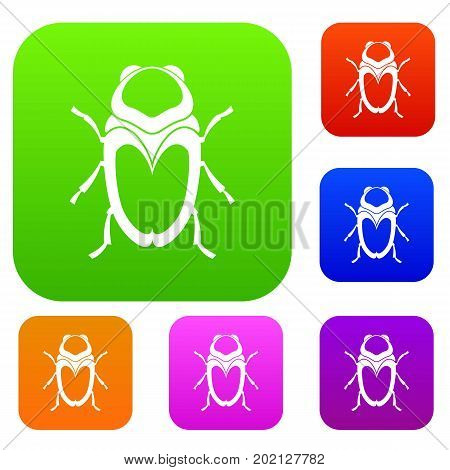 Scarab beetle set icon in different colors isolated vector illustration. Premium collection