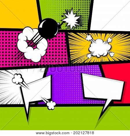 Pop art comics book magazine cover template. Cartoon funny vintage strip comic superhero text speech bubble balloon box message burst bomb. Vector halftone illustration. Blank humor graphic.