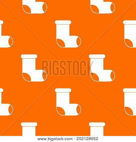 Felt boot pattern repeat seamless in orange color for any design. Vector geometric illustration
