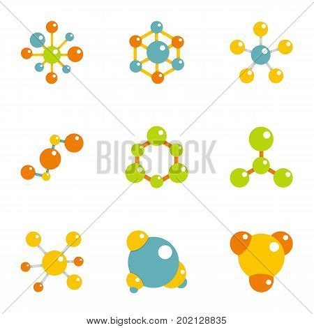 Molecular chemistry icons set. Flat illustration of 9 molecular chemistry vector icons for web design