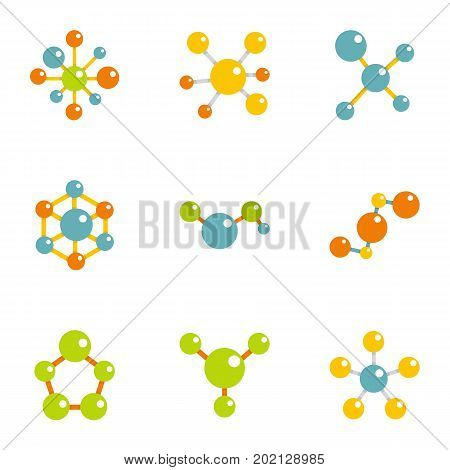 Molecular structure icons set. Flat illustration of 9 molecular structure vector icons for web design