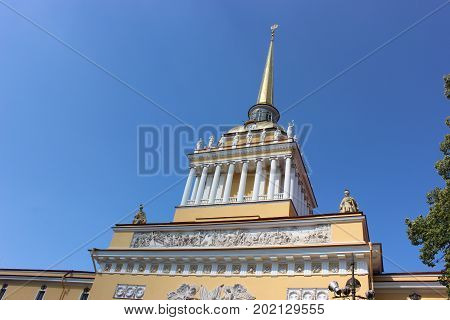 The top of the building of the Admiralty where Peter 1 built ships and brought them to the Neva