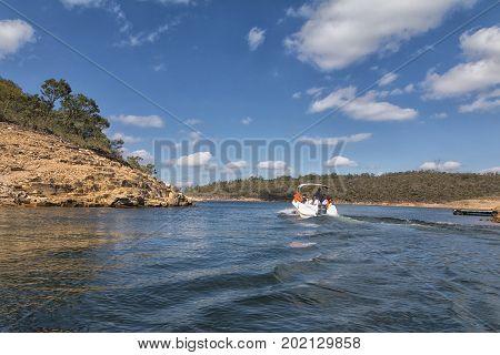 Furnas Dam in Minas Gerais Brazil Jul 11th 2017. Tourists visiting the watherfalls in Capitolio MG Brazil