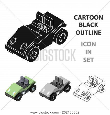 Golf cart icon in cartoon design isolated on white background. Transportation symbol stock vector illustration.