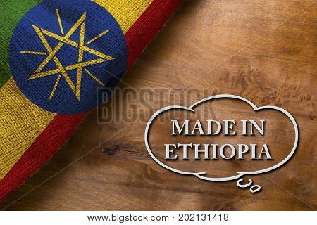 A poster made in Ethiopia is made with the national flag of the country.
