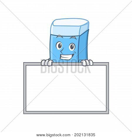 Grinning with board eraser character mascot style vector illustration