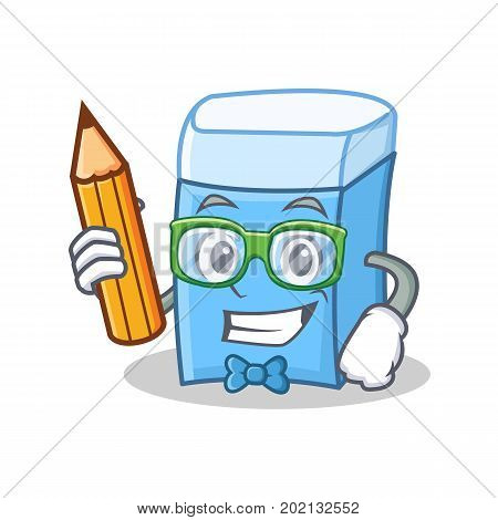 Student with pencil eraser character mascot style vector illustration