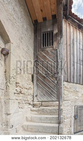 town wall with wodden door at Rothenburg ob der Tauber a town in Middle Franconia in Bavaria Germany