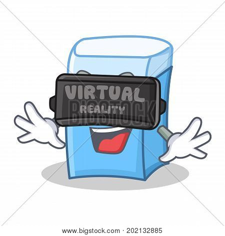 With virtual reality eraser character mascot style vector illustration