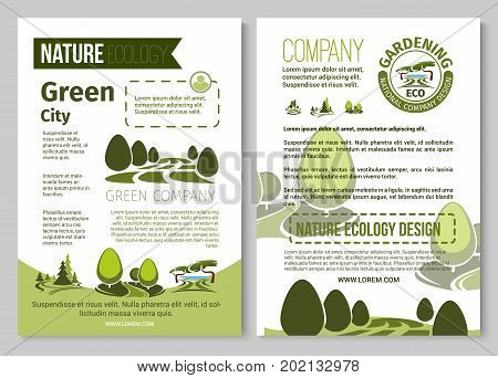 Green city environment and eco gardening company poster template. Vector nature landscape design for parkland squares, ecology forest trees, gardens or woodlands of urban horticulture planting