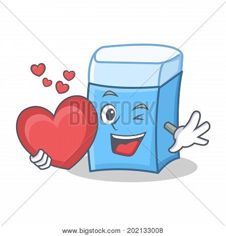 With heart eraser character mascot style vector illustration
