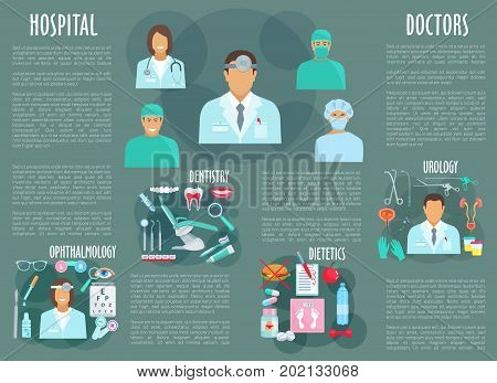 Hospital doctors of urology, ophthalmology, dietetics and dentistry medicine. Vector poster of medical personnel and eye dropper, tooth implant, syringe and diabetic pills or stethoscope and scalpel