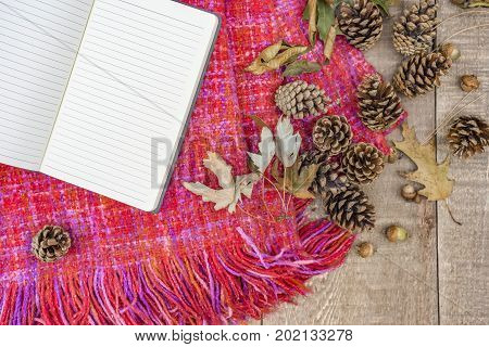 Open Lined Journal, Blank Pages On Soft Cozy Autumn Blanket, Rustic Wooden Background With Acorns, P