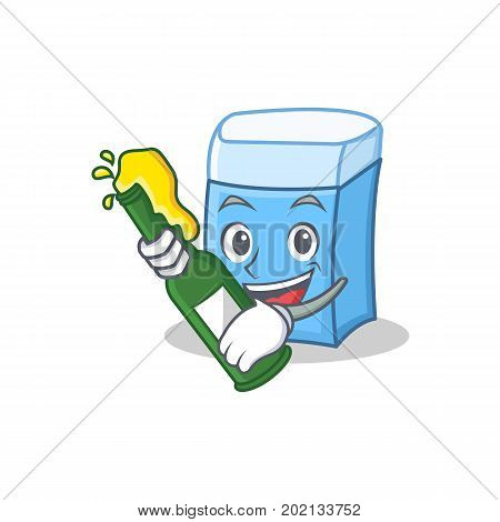 With beer eraser character mascot style vector illustration